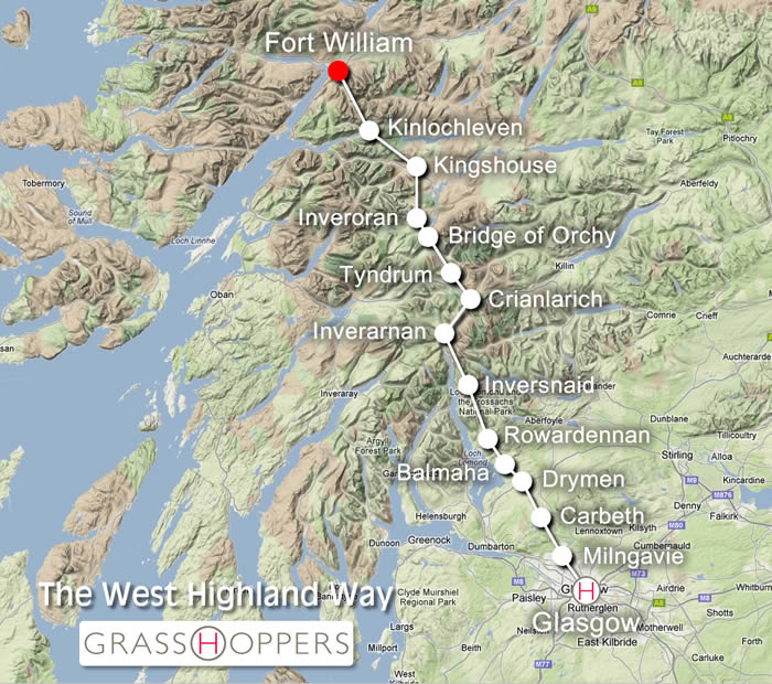 West Highland Way Map Places to stay for the West Highland Way West Highland Way Map